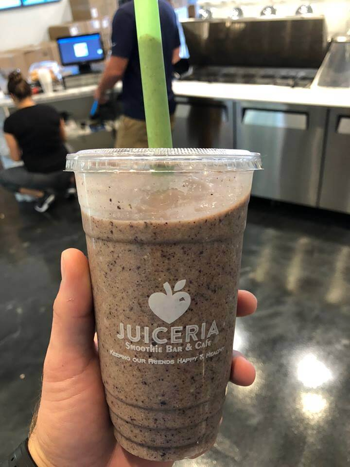 Eat Your Water and Juiceria blueberry avocado smoothie